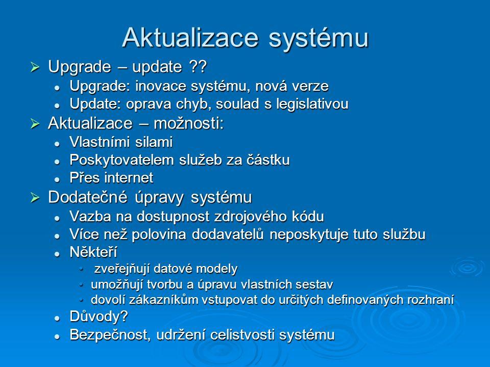 Aktualizace systému  Upgrade – update ?? Upgrade: inovace systému, nová verze Upgrade: inovace systému, nová verze Update: oprava chyb, soulad s legi