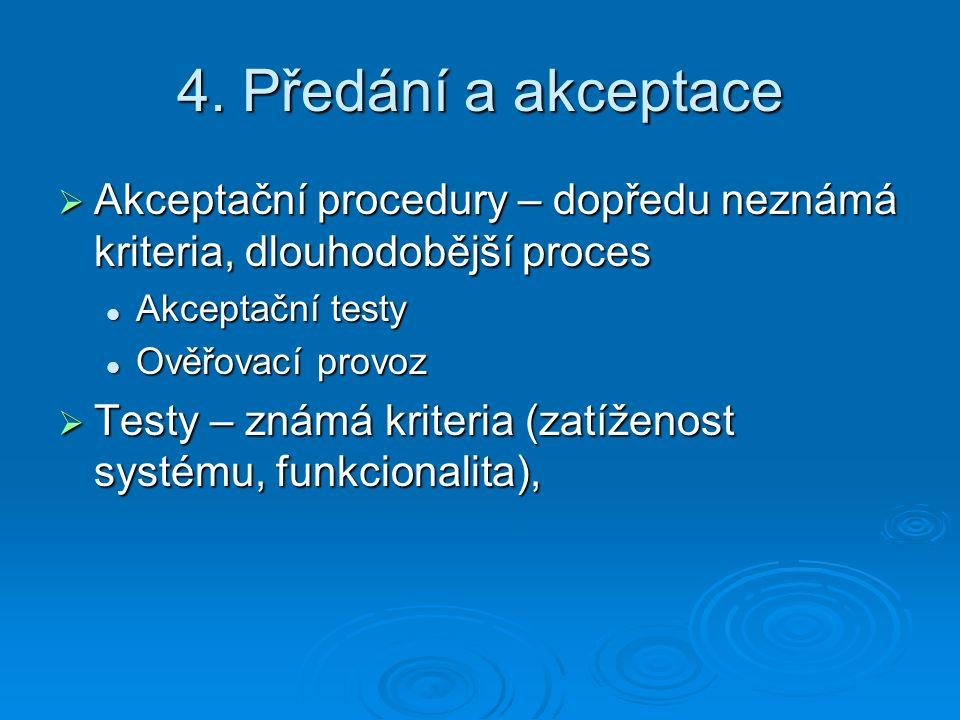 4. Předání a akceptace  Akceptační procedury – dopředu neznámá kriteria, dlouhodobější proces Akceptační testy Akceptační testy Ověřovací provoz Ověř