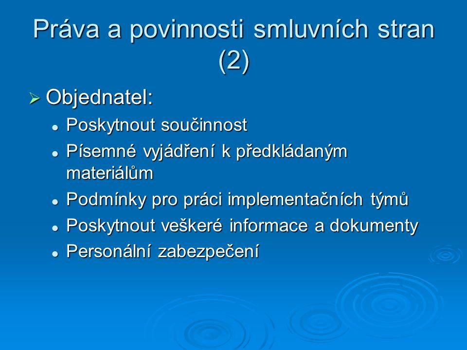 Práva a povinnosti smluvních stran (2)  Objednatel: Poskytnout součinnost Poskytnout součinnost Písemné vyjádření k předkládaným materiálům Písemné v