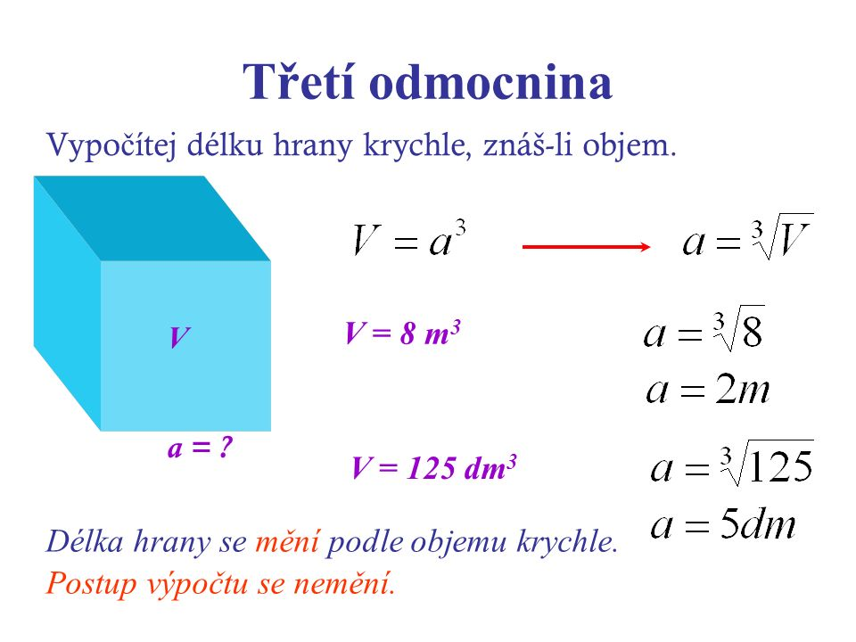 Třetí odmocnina Vypo č ítej délku hrany krychle, znáš-li objem. a = ? V = 8 m 3 V V = 125 dm 3 Délka hrany se mění podle objemu krychle. Postup výpočt