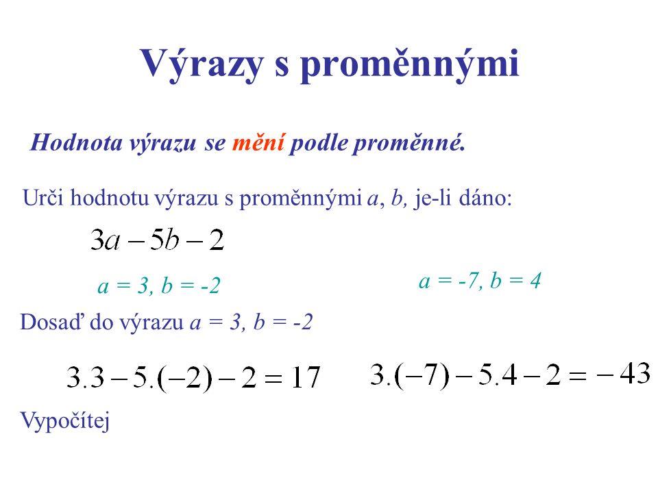 Výrazy s proměnnými Hodnota výrazu se mění podle proměnné. Urči hodnotu výrazu s proměnnými a, b, je-li dáno: Dosaď do výrazu a = 3, b = -2 Vypočítej