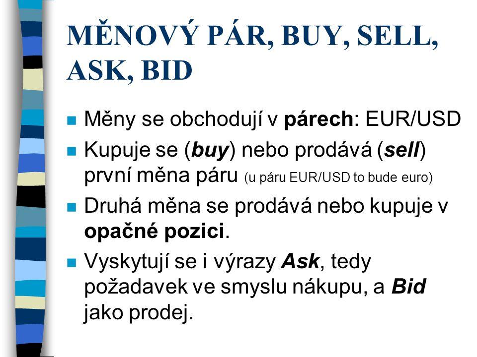 MĚNOVÝ PÁR, BUY, SELL, ASK, BID n Měny se obchodují v párech: EUR/USD n Kupuje se (buy) nebo prodává (sell) první měna páru (u páru EUR/USD to bude eu