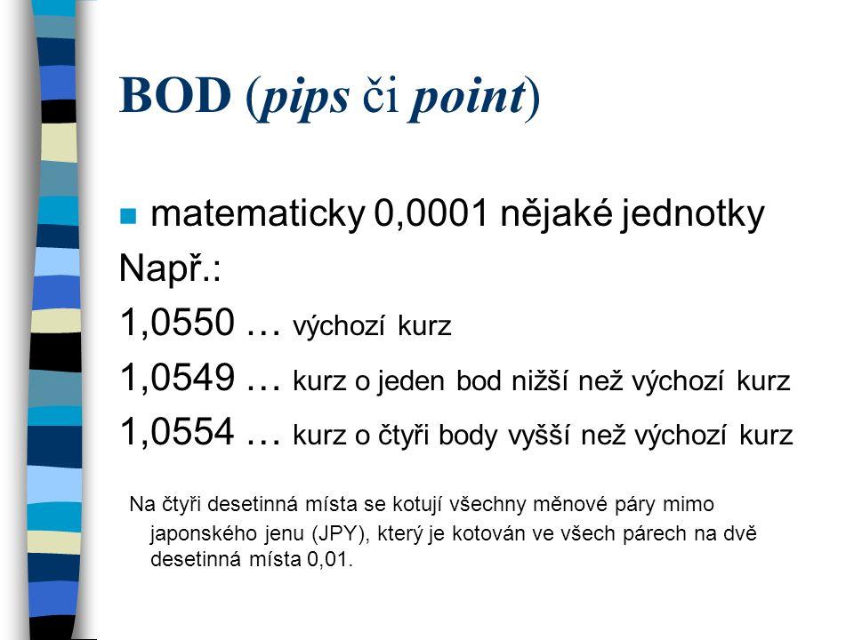 BOD (pips či point) n matematicky 0,0001 nějaké jednotky Např.: 1,0550 … výchozí kurz 1,0549 … kurz o jeden bod nižší než výchozí kurz 1,0554 … kurz o
