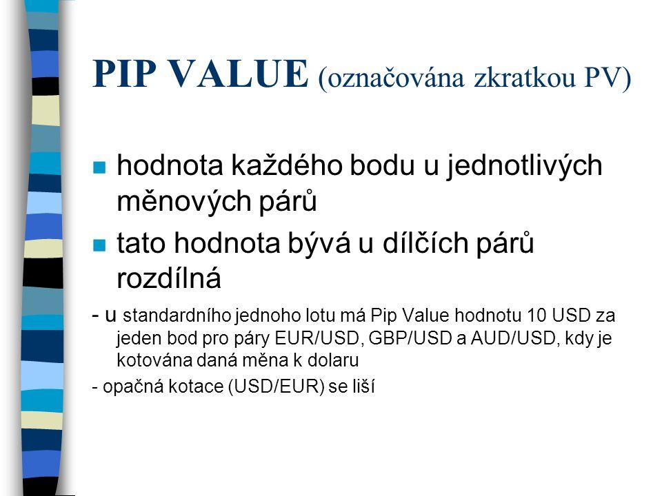 PIP VALUE (označována zkratkou PV) n hodnota každého bodu u jednotlivých měnových párů n tato hodnota bývá u dílčích párů rozdílná - u standardního je