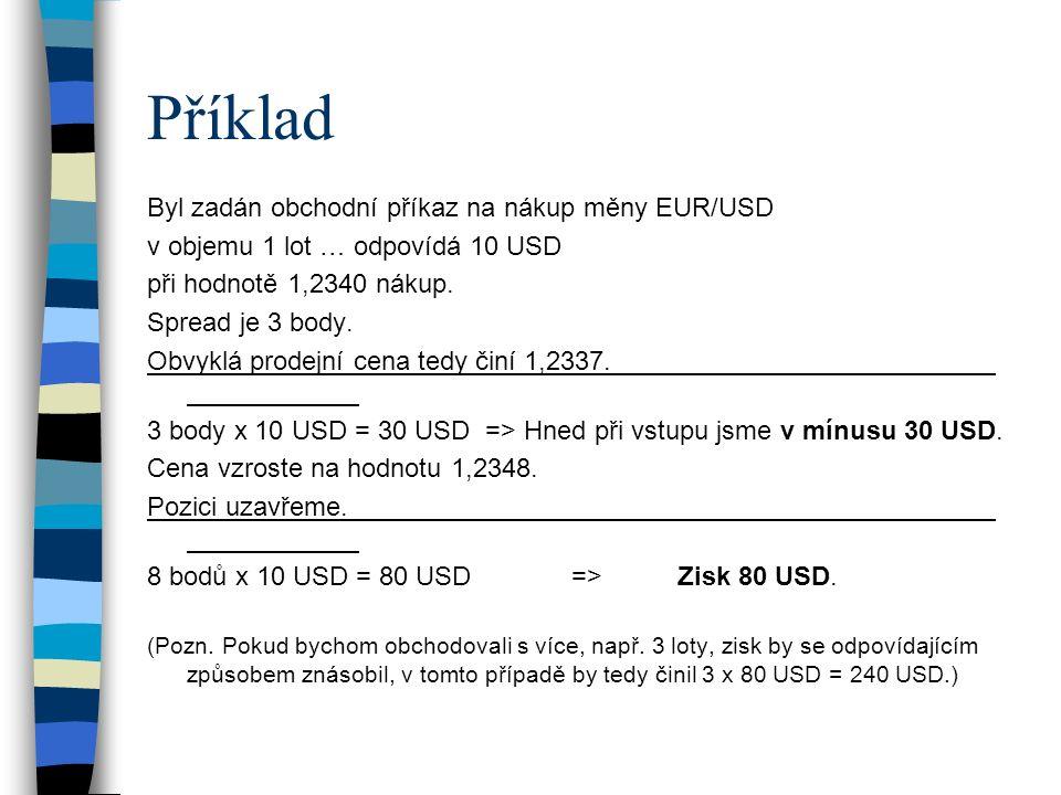 Příklad Byl zadán obchodní příkaz na nákup měny EUR/USD v objemu 1 lot … odpovídá 10 USD při hodnotě 1,2340 nákup. Spread je 3 body. Obvyklá prodejní