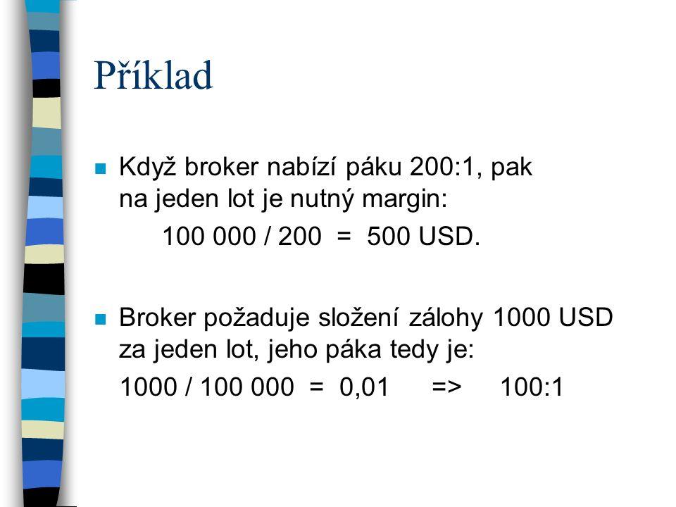 Příklad n Když broker nabízí páku 200:1, pak na jeden lot je nutný margin: 100 000 / 200 = 500 USD. n Broker požaduje složení zálohy 1000 USD za jeden