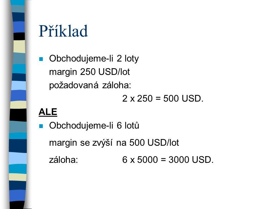 Příklad n Obchodujeme-li 2 loty margin 250 USD/lot požadovaná záloha: 2 x 250 = 500 USD. ALE n Obchodujeme-li 6 lotů margin se zvýší na 500 USD/lot zá