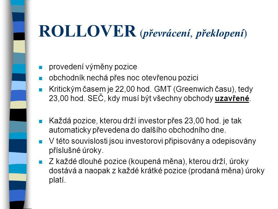 ROLLOVER (převrácení, překlopení) n provedení výměny pozice n obchodník nechá přes noc otevřenou pozici n Kritickým časem je 22,00 hod. GMT (Greenwich