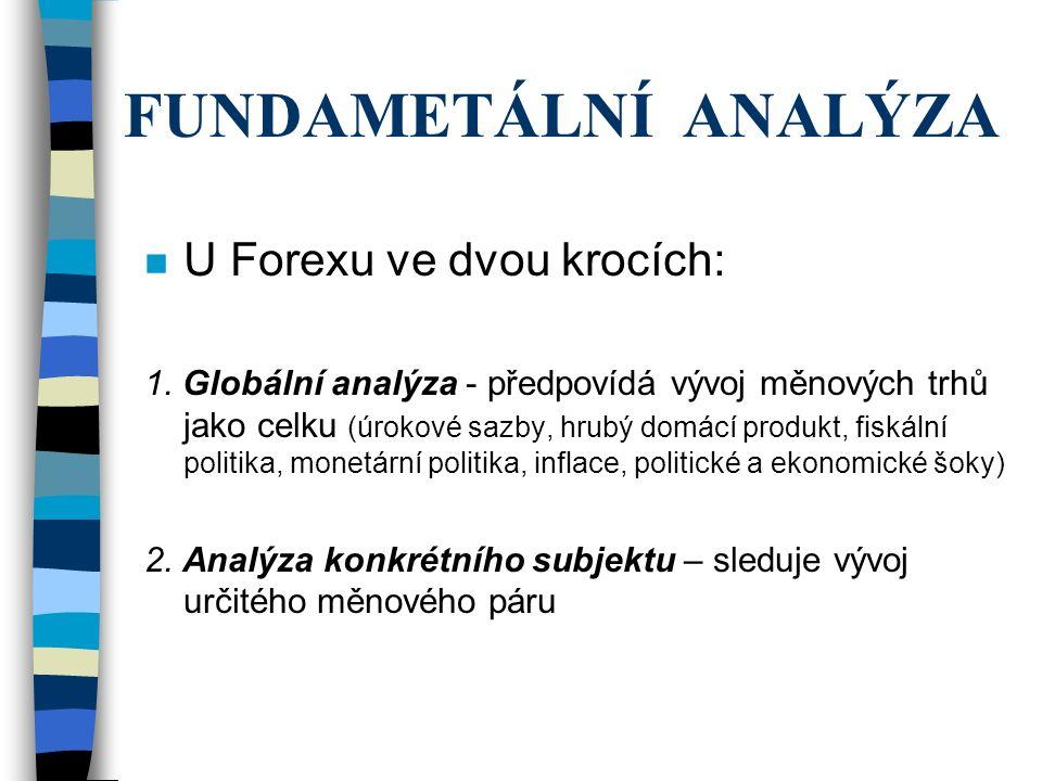 FUNDAMETÁLNÍ ANALÝZA n U Forexu ve dvou krocích: 1. Globální analýza - předpovídá vývoj měnových trhů jako celku (úrokové sazby, hrubý domácí produkt,