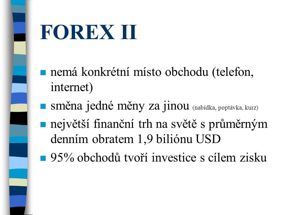 FOREX II n nemá konkrétní místo obchodu (telefon, internet) n směna jedné měny za jinou (nabídka, poptávka, kurz) n největší finanční trh na světě s p