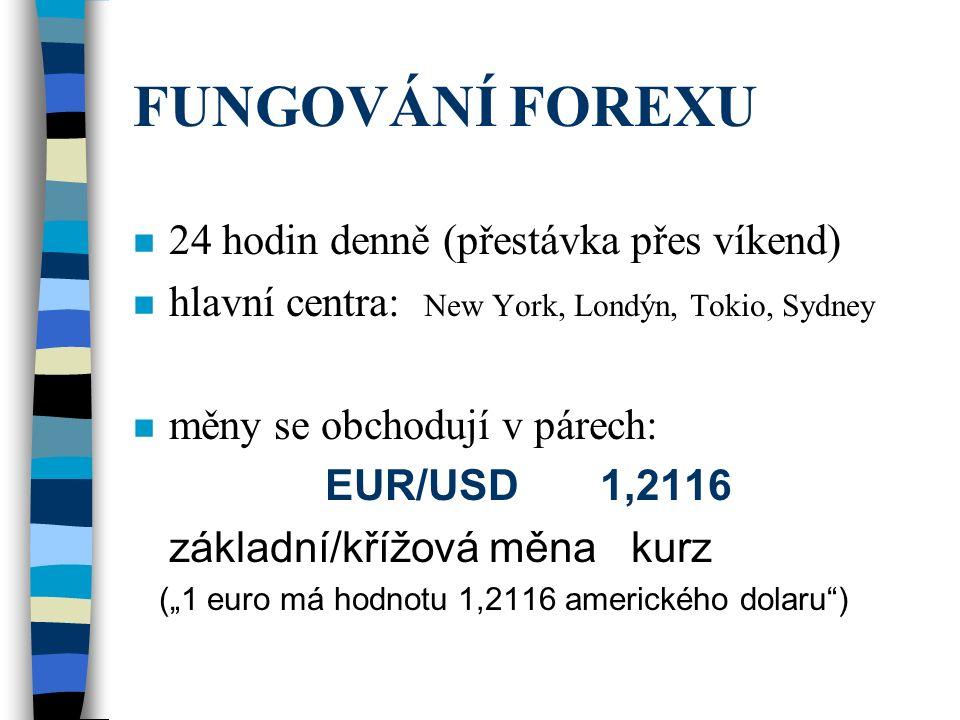 FUNGOVÁNÍ FOREXU n 24 hodin denně (přestávka přes víkend) n hlavní centra: New York, Londýn, Tokio, Sydney n měny se obchodují v párech: EUR/USD 1,211
