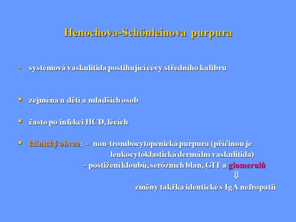Henochova-Schönleinova purpura - systémová vaskulitida postihující cévy středního kalibru  zejména u dětí a mladších osob  často po infekci HCD, léc