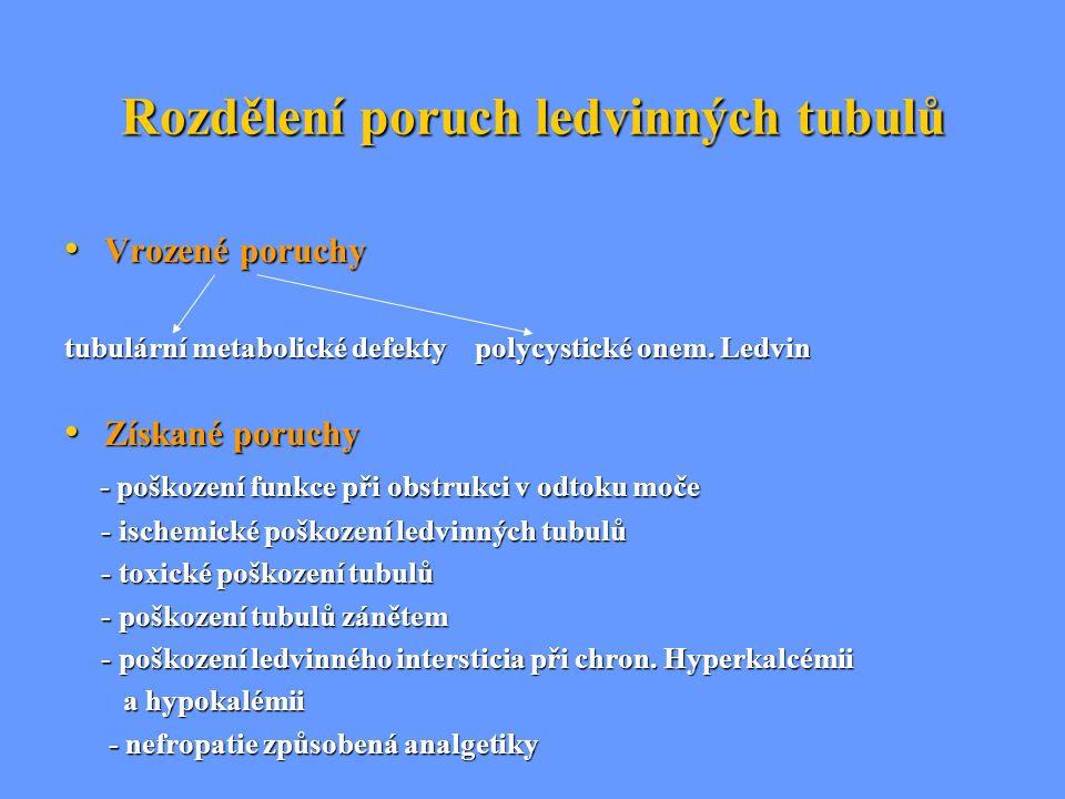Rozdělení poruch ledvinných tubulů Vrozené poruchy Vrozené poruchy tubulární metabolické defekty polycystické onem. Ledvin Získané poruchy Získané por