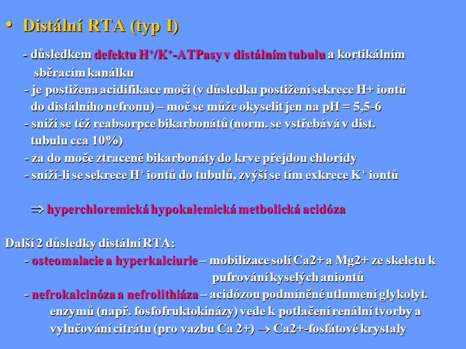 Distální RTA (typ I) Distální RTA (typ I) - důsledkem defektu H + /K + -ATPasy v distálním tubulu a kortikálním - důsledkem defektu H + /K + -ATPasy v