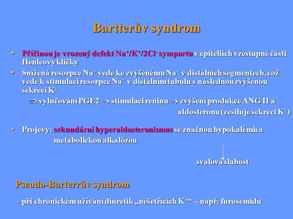 Bartterův syndrom Příčinou je vrozený defekt Na + /K + /2Cl - symportu v epiteliích vzestupné části Henleovy kličky Příčinou je vrozený defekt Na + /K