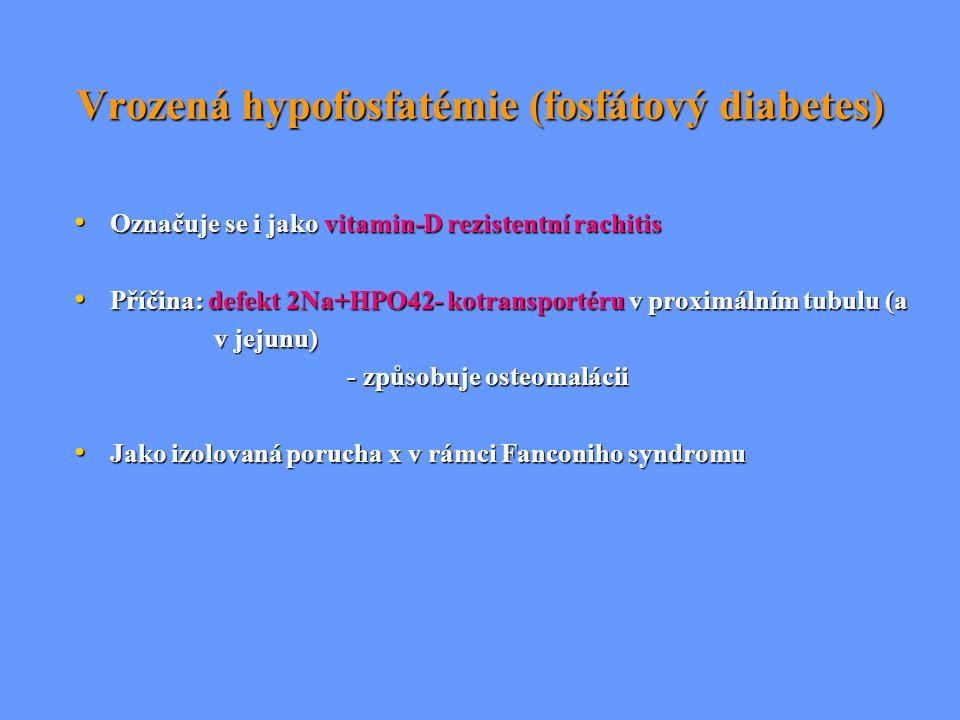 Vrozená hypofosfatémie (fosfátový diabetes) Označuje se i jako vitamin-D rezistentní rachitis Označuje se i jako vitamin-D rezistentní rachitis Příčin