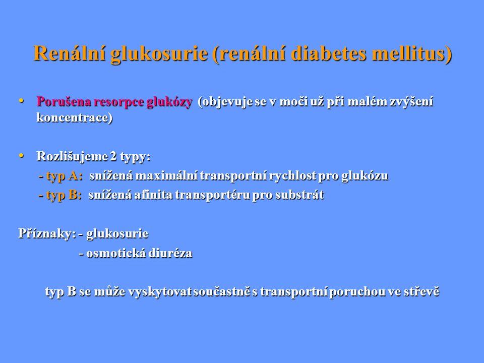 Renální glukosurie (renální diabetes mellitus) Porušena resorpce glukózy (objevuje se v moči už při malém zvýšení koncentrace) Porušena resorpce glukó