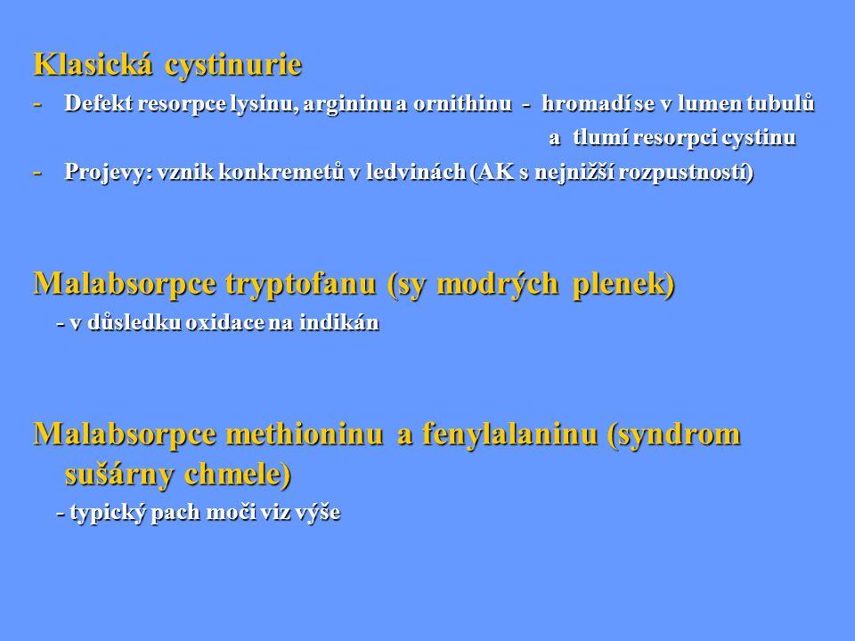Klasická cystinurie - Defekt resorpce lysinu, argininu a ornithinu - hromadí se v lumen tubulů a tlumí resorpci cystinu a tlumí resorpci cystinu - Pro