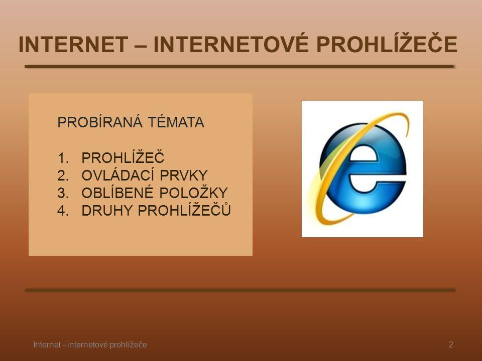 PROBÍRANÁ TÉMATA 1.PROHLÍŽEČ 2.OVLÁDACÍ PRVKY 3.OBLÍBENÉ POLOŽKY 4.DRUHY PROHLÍŽEČŮ INTERNET – INTERNETOVÉ PROHLÍŽEČE 2Internet - internetové prohlížeče