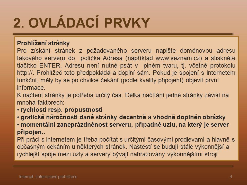 Prohlížení stránky Pro získání stránek z požadovaného serveru napište doménovou adresu takového serveru do políčka Adresa (například www.seznam.cz) a stiskněte tlačítko ENTER.