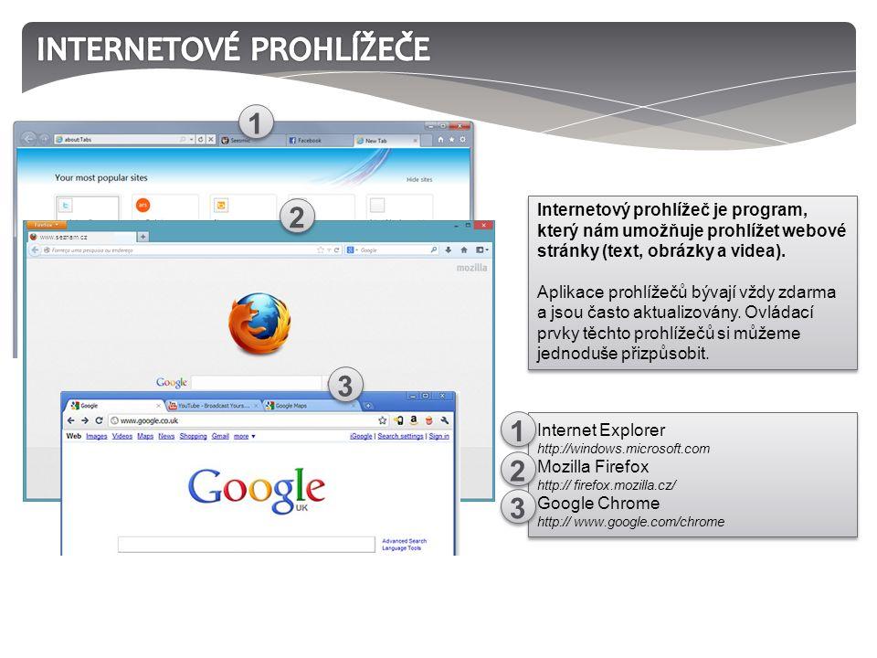 Internetový prohlížeč je program, který nám umožňuje prohlížet webové stránky (text, obrázky a videa).