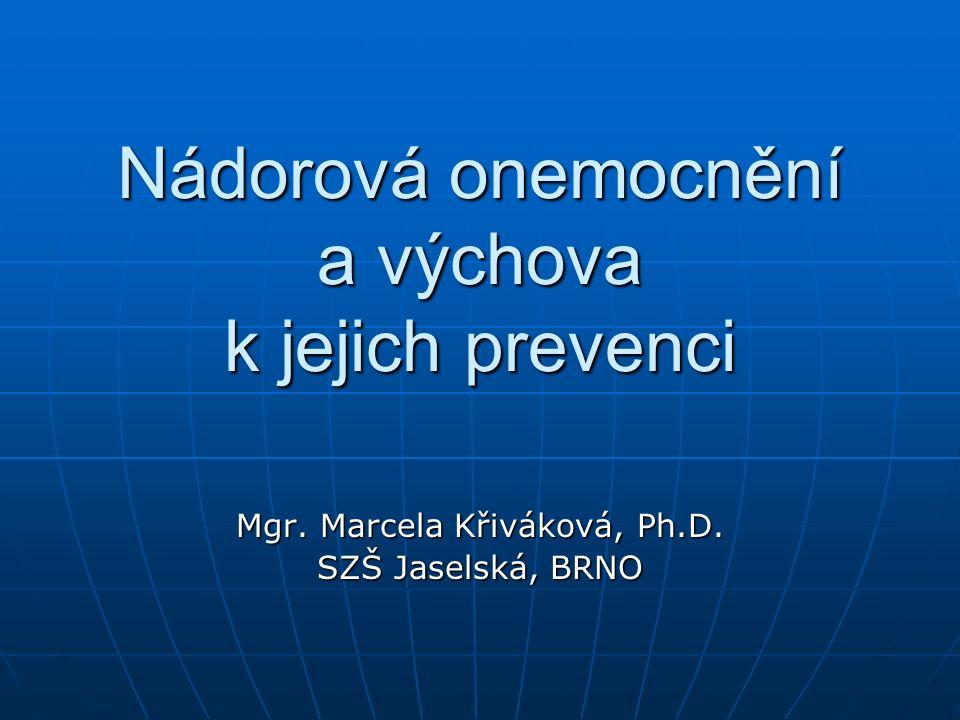 Nádorová onemocnění a výchova k jejich prevenci Mgr. Marcela Křiváková, Ph.D. SZŠ Jaselská, BRNO