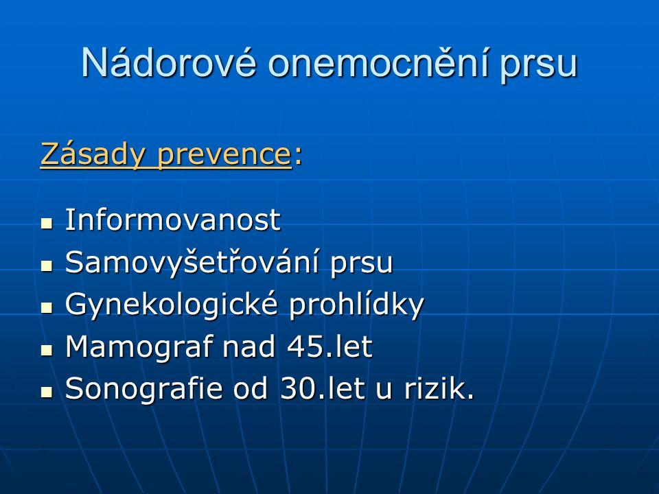Nádorové onemocnění prsu Zásady prevence: Informovanost Informovanost Samovyšetřování prsu Samovyšetřování prsu Gynekologické prohlídky Gynekologické