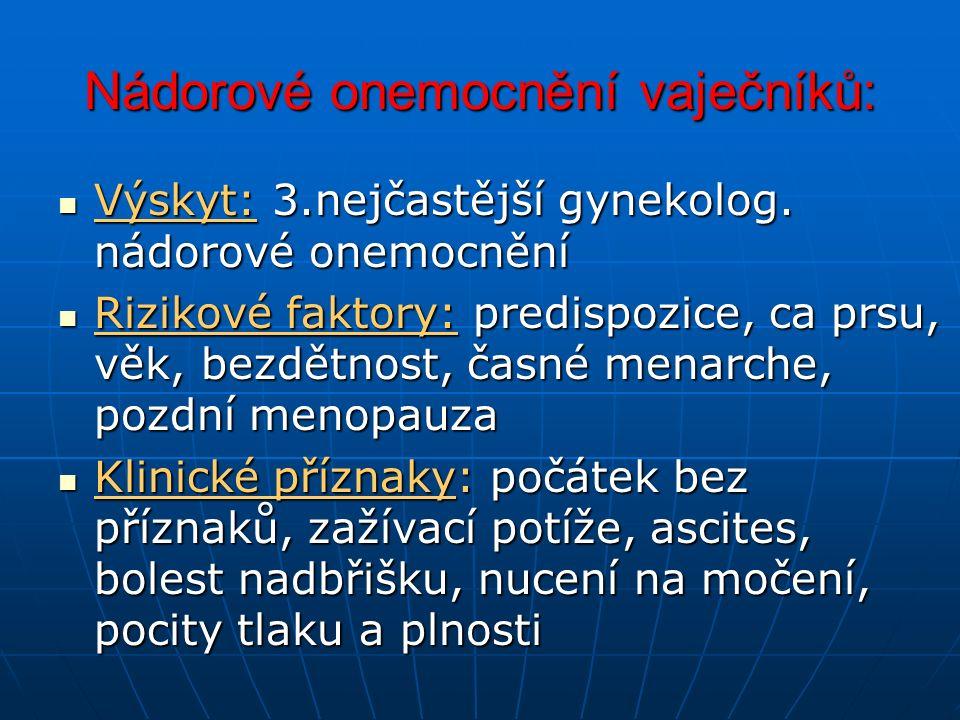 Nádorové onemocnění vaječníků: Výskyt: 3.nejčastější gynekolog.