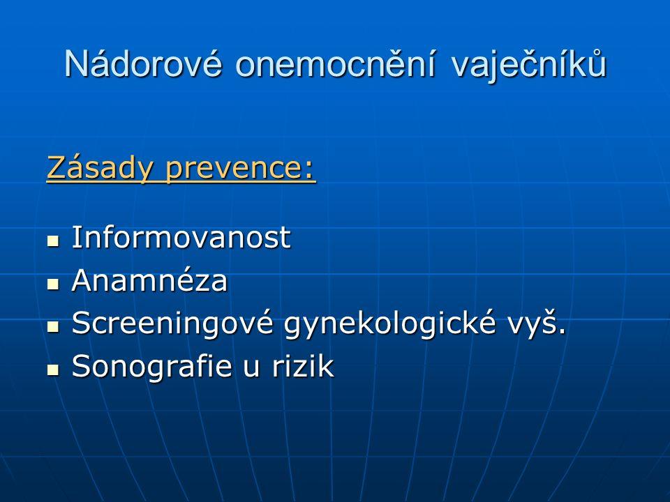 Nádorové onemocnění vaječníků Zásady prevence: Informovanost Informovanost Anamnéza Anamnéza Screeningové gynekologické vyš. Screeningové gynekologick