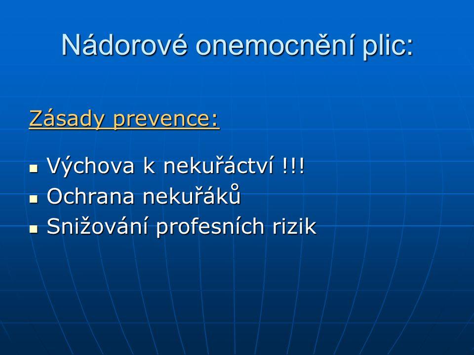 Nádorové onemocnění plic: Zásady prevence: Výchova k nekuřáctví !!! Výchova k nekuřáctví !!! Ochrana nekuřáků Ochrana nekuřáků Snižování profesních ri