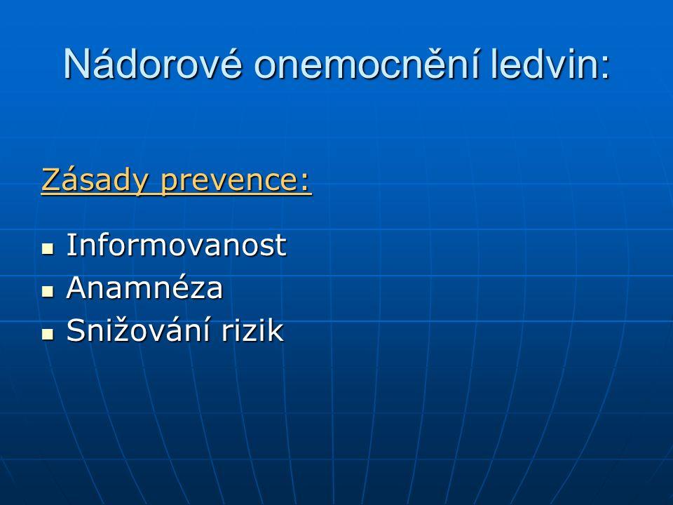 Nádorové onemocnění ledvin: Zásady prevence: Informovanost Informovanost Anamnéza Anamnéza Snižování rizik Snižování rizik
