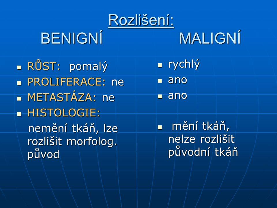 Nádorové onemocnění střev a konečníku: Benigní (polypy, adenomy) Benigní (polypy, adenomy) Maligní (kolorektální karcinom) Maligní (kolorektální karcinom) Výskyt: střeva 45m : 35ž Výskyt: střeva 45m : 35ž konečník 38m : 23ž konečník 38m : 23ž incidence narůstá po 50.