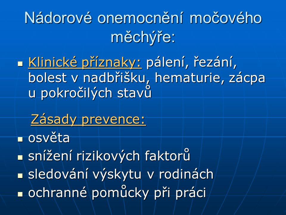 Nádorové onemocnění močového měchýře: Klinické příznaky: pálení, řezání, bolest v nadbřišku, hematurie, zácpa u pokročilých stavů Klinické příznaky: p
