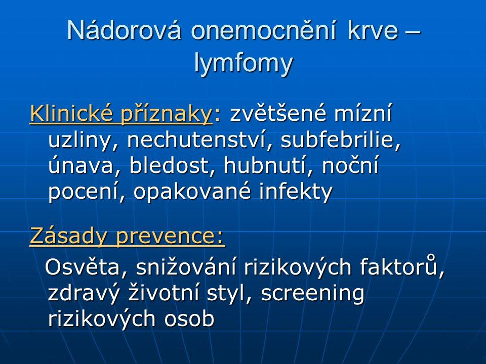Nádorová onemocnění krve – lymfomy Klinické příznaky: zvětšené mízní uzliny, nechutenství, subfebrilie, únava, bledost, hubnutí, noční pocení, opakované infekty Zásady prevence: Osvěta, snižování rizikových faktorů, zdravý životní styl, screening rizikových osob Osvěta, snižování rizikových faktorů, zdravý životní styl, screening rizikových osob