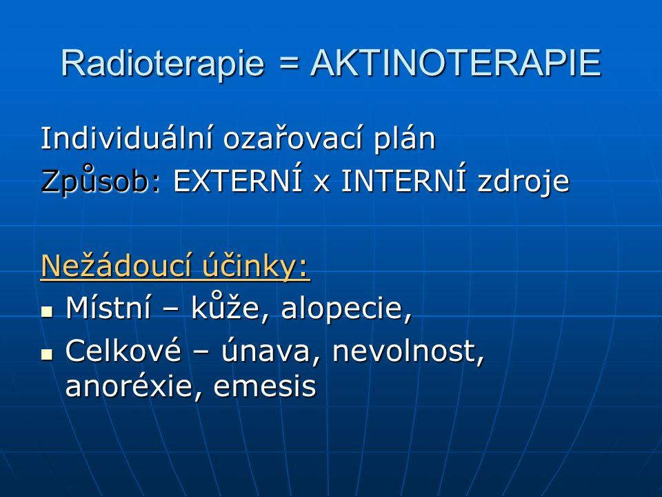 Radioterapie = AKTINOTERAPIE Individuální ozařovací plán Způsob: EXTERNÍ x INTERNÍ zdroje Nežádoucí účinky: Místní – kůže, alopecie, Místní – kůže, alopecie, Celkové – únava, nevolnost, anoréxie, emesis Celkové – únava, nevolnost, anoréxie, emesis