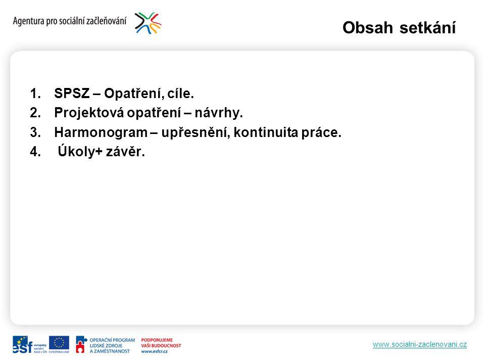 www.socialni-zaclenovani.cz Obsah setkání 1.SPSZ – Opatření, cíle. 2.Projektová opatření – návrhy. 3.Harmonogram – upřesnění, kontinuita práce. 4. Úko