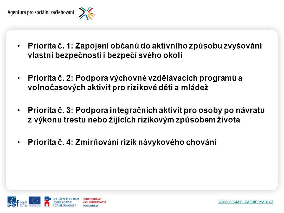 www.socialni-zaclenovani.cz Priorita č. 1: Zapojení občanů do aktivního způsobu zvyšování vlastní bezpečnosti i bezpečí svého okolí Priorita č. 2: Pod