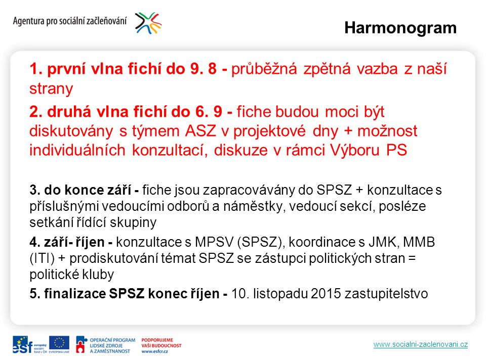 www.socialni-zaclenovani.cz Fiche Formuláře fichí pro všechny programy budou zaslány společně se zápisem z jednání PS zaměstnanost Počet vyplněných fichí není omezen Ke každé fichi je nutné doložit krátkou anotaci záměru (cca ½ A4) Vyplněné fiche a případné jakékoli další dotazy: chkheidze.marketa@vlada.cz chkheidze.marketa@vlada.cz Zpětná vazba bude formou doporučení