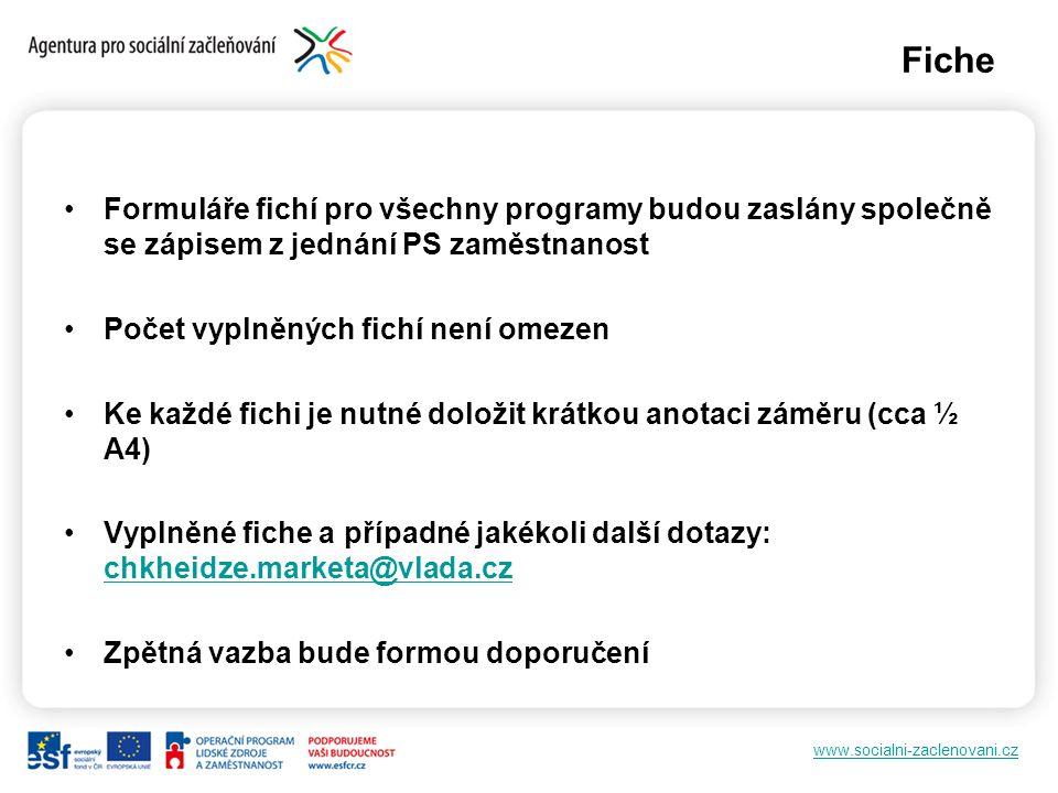 www.socialni-zaclenovani.cz Fiche Formuláře fichí pro všechny programy budou zaslány společně se zápisem z jednání PS zaměstnanost Počet vyplněných fi