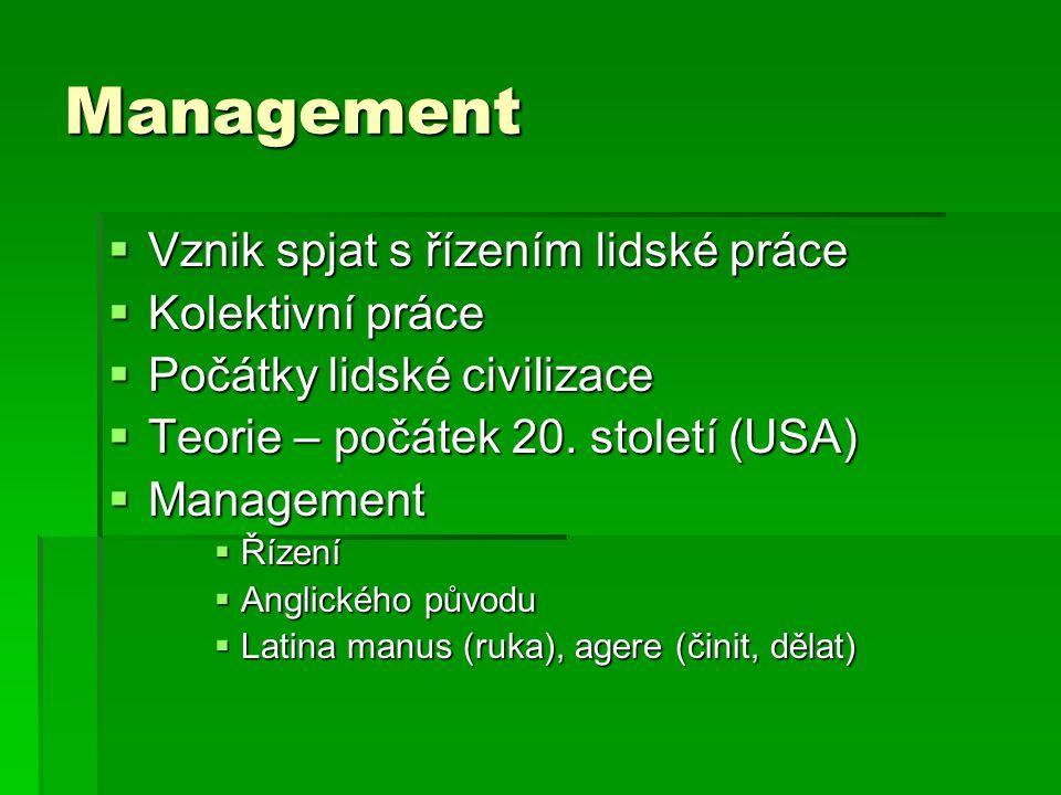 Management  Vznik spjat s řízením lidské práce  Kolektivní práce  Počátky lidské civilizace  Teorie – počátek 20. století (USA)  Management  Říz
