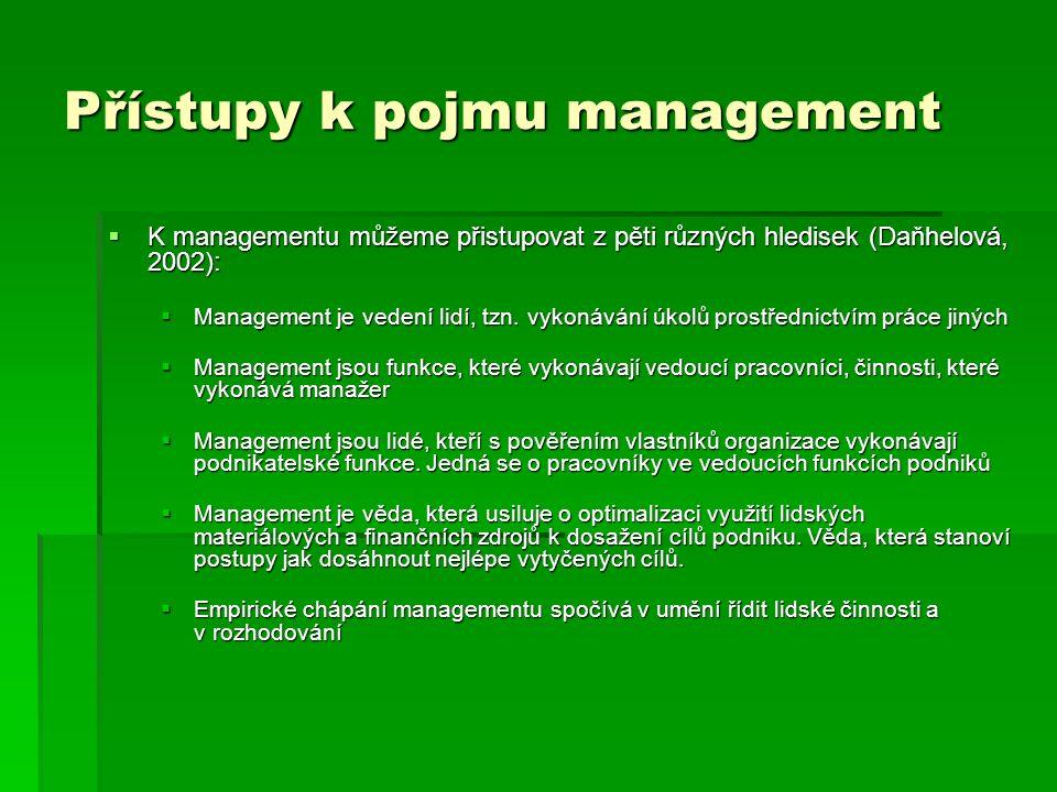 Přístupy k pojmu management  K managementu můžeme přistupovat z pěti různých hledisek (Daňhelová, 2002):  Management je vedení lidí, tzn. vykonávání