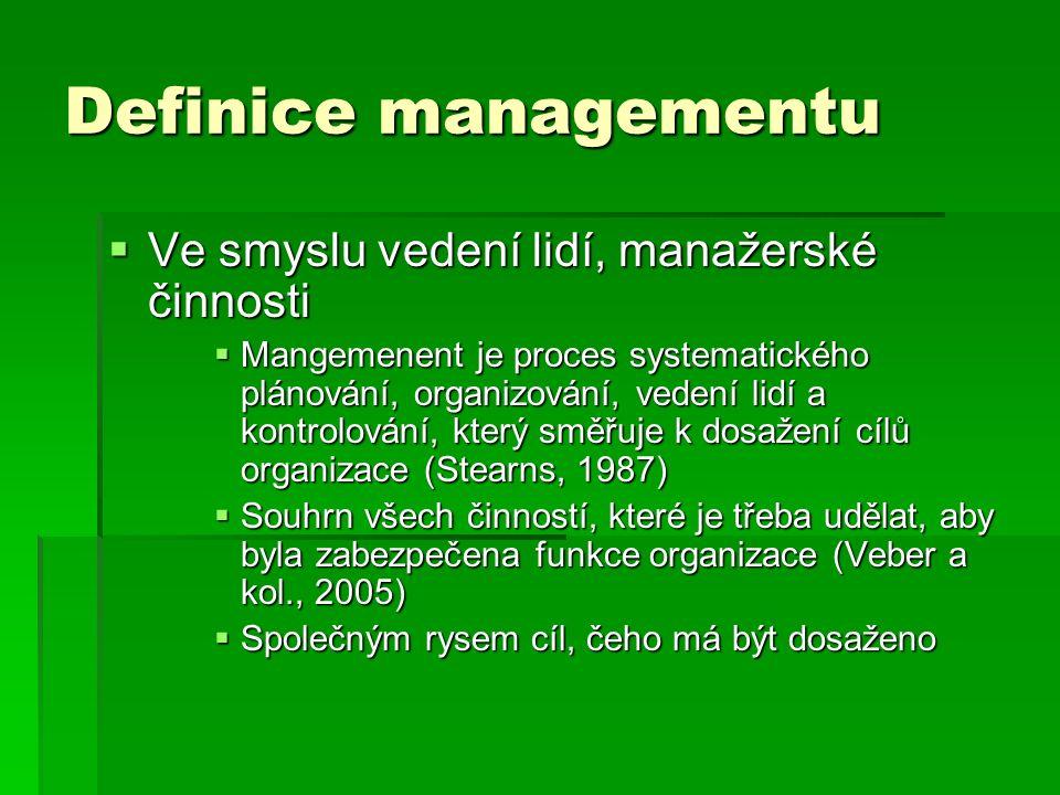 Definice managementu  Ve smyslu vedení lidí, manažerské činnosti  Mangemenent je proces systematického plánování, organizování, vedení lidí a kontro