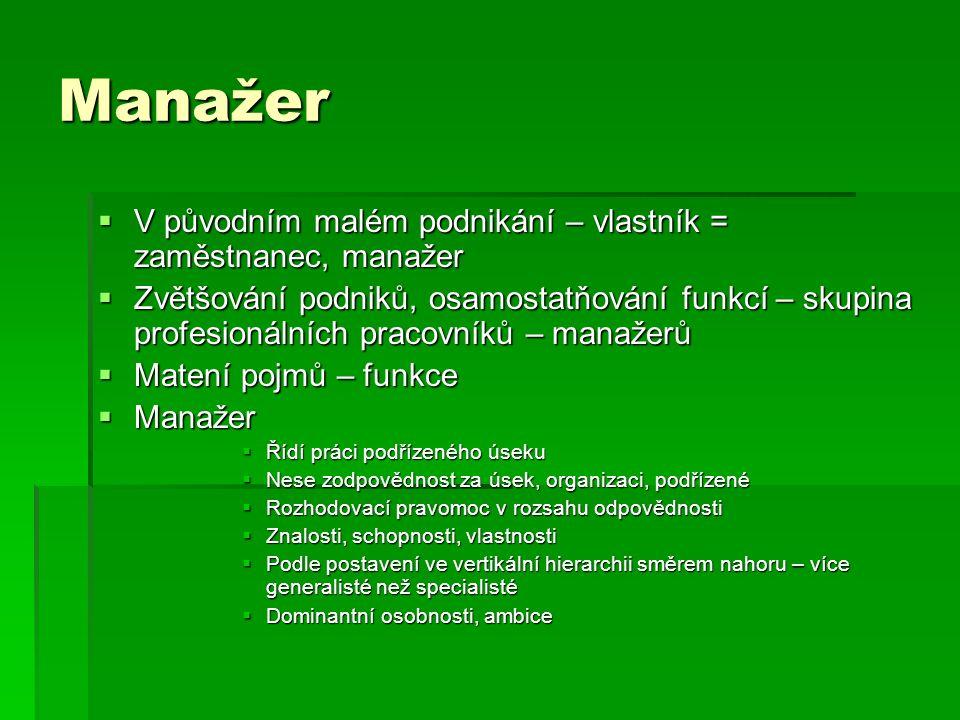 Manažer  V původním malém podnikání – vlastník = zaměstnanec, manažer  Zvětšování podniků, osamostatňování funkcí – skupina profesionálních pracovní