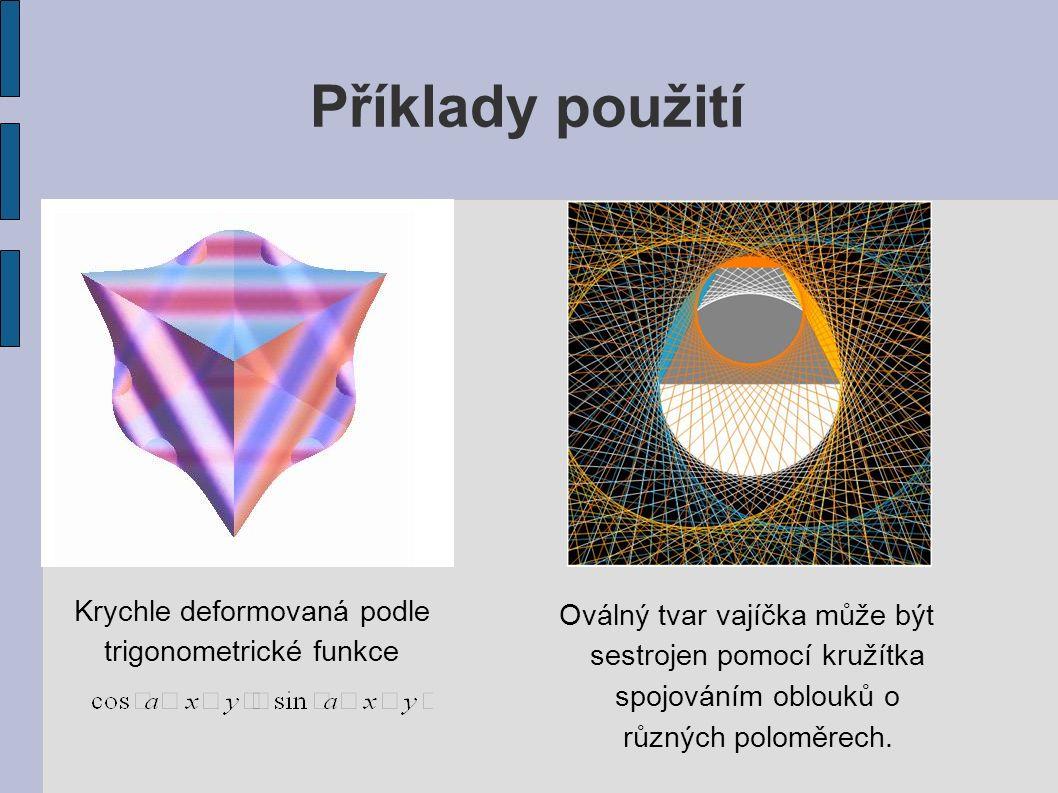 Příklady použití Krychle deformovaná podle trigonometrické funkce Oválný tvar vajíčka může být sestrojen pomocí kružítka spojováním oblouků o různých poloměrech.
