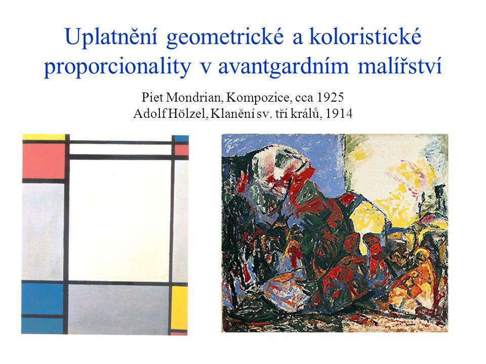 Uplatnění geometrické a koloristické proporcionality v avantgardním malířství Piet Mondrian, Kompozice, cca 1925 Adolf Hölzel, Klanění sv. tří králů,