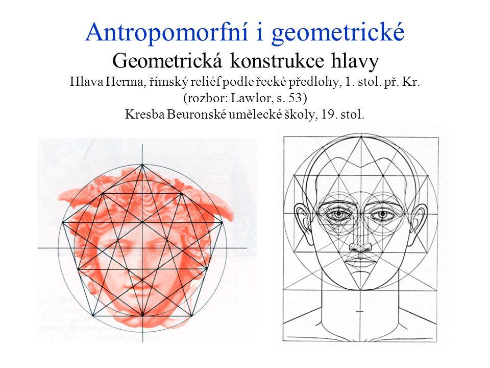 Antropomorfní i geometrické Geometrická konstrukce hlavy Hlava Herma, římský reliéf podle řecké předlohy, 1. stol. př. Kr. (rozbor: Lawlor, s. 53) Kre