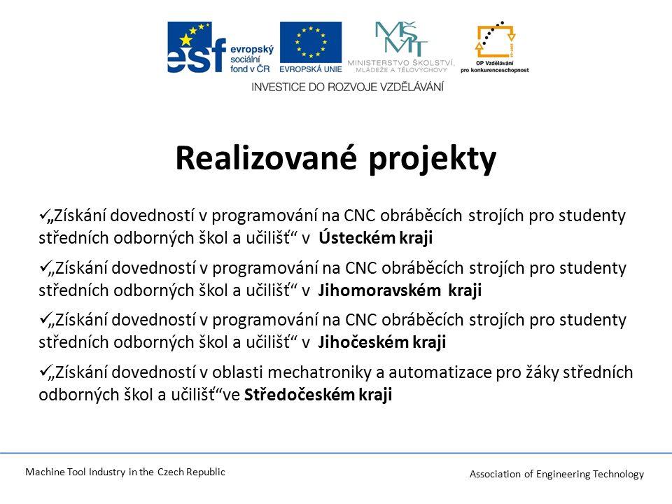 Association of Engineering Technology Machine Tool Industry in the Czech Republic Plnění : KA 01 Zvýšení úrovně praktických dovedností pedagogických pracovníků v předmětu mechatronika Praktická výuka uplatnění nakoupeného SW a HW - Termín realizace: 2.3.