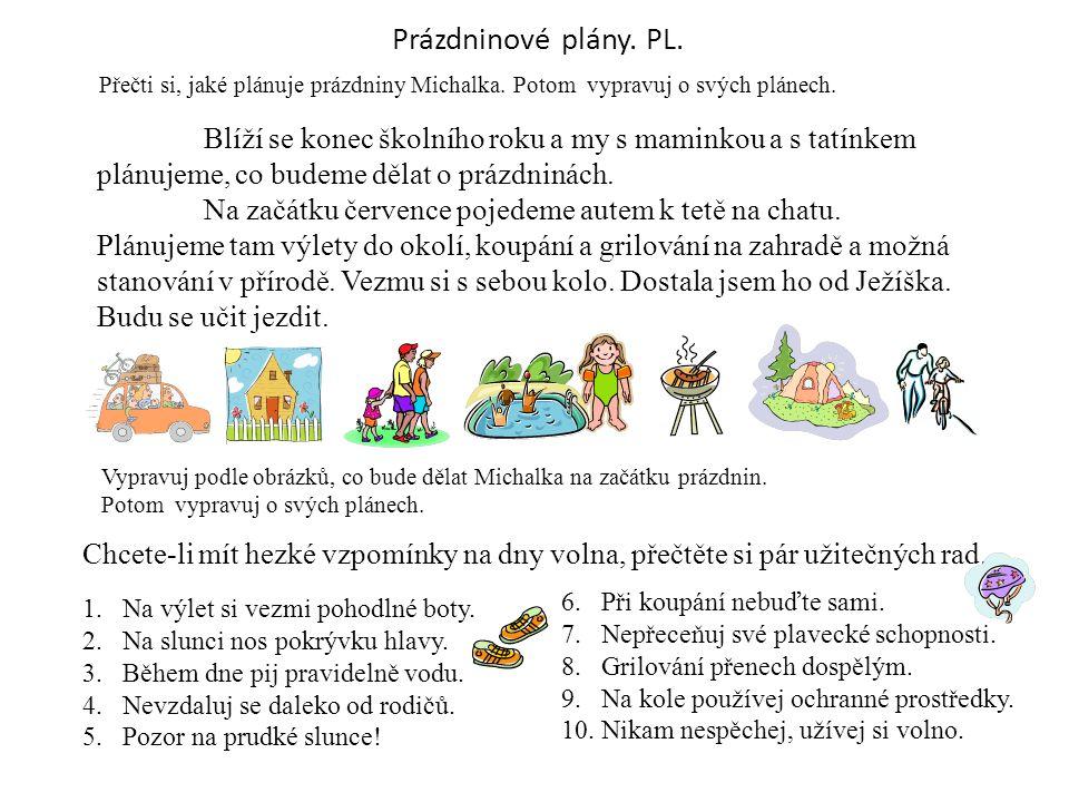 Prázdninové plány. PL. Přečti si, jaké plánuje prázdniny Michalka. Potom vypravuj o svých plánech. Blíží se konec školního roku a my s maminkou a s ta