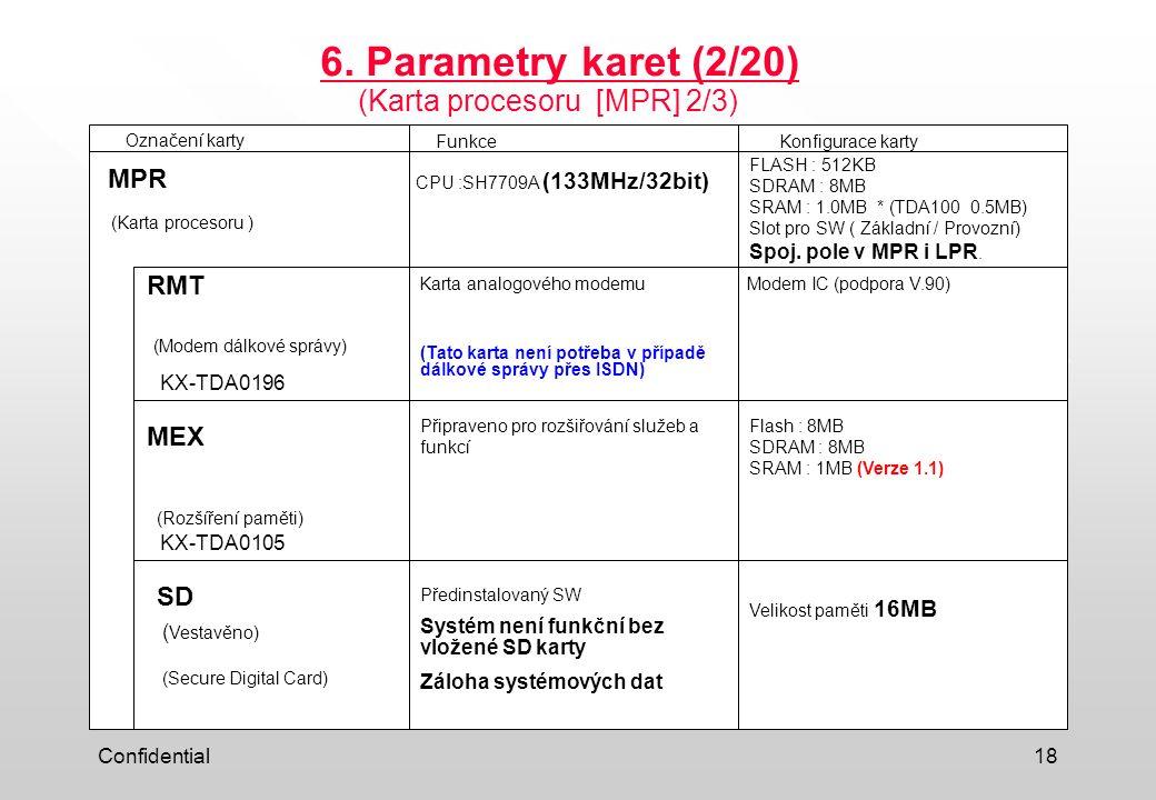 Confidential18 6. Parametry karet (2/20) (Karta procesoru [MPR] 2/3) Označení kartyFunkceKonfigurace karty (Karta procesoru ) MPR (Modem dálkové správ