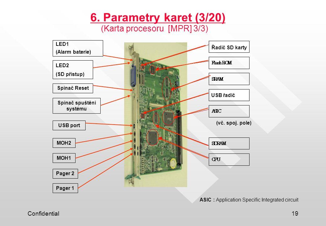 Confidential19 6. Parametry karet (3/20) (Karta procesoru [MPR] 3/3) Pager 1 Pager 2 LED1 (Alarm baterie) LED2 (SD přístup) Spínač Reset Spínač spuště